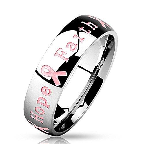 Bungsa 60 (19.1) Ring Gravur - Schmuckring mit graviertem Schriftzug Courage Strength Hope Faith - Brustkrebs Awareness Ring für Damen & Herren - Pink Ribbon Breast Cancer Ring mit Gravur -