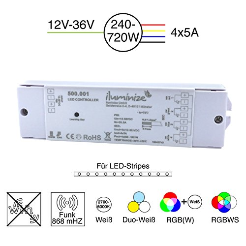 iluminize LED-Controller Funk: flimmerfrei durch 750Hz, hochwertiger und langlebiger LED-Controller, 4x 5A, für weiße / duo-weiße (CCT) / RGB / RGB+W / RGBW LEDs, 12V-36V Konstantspannung, zum Dimmen und Steuern von LED-Streifen und LED-Lampen mit Konstantspannung (Funk 4x 5A)