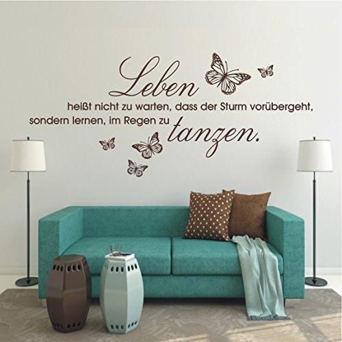 HomeTattoo ® WANDTATTOO Wandaufkleber Leben heißt...im Regen zu tanzen Schmetterlinge 258 XL ( L x B ) ca. 58 x 140 cm (dunkelgrau 073) (Xl-tanzen)