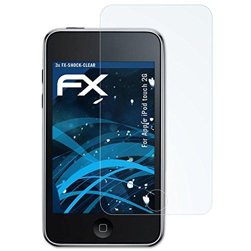 atFoliX Schutzfolie kompatibel mit Apple iPod Touch 2G Panzerfolie, ultraklare und stoßdämpfende FX Folie (3X) -