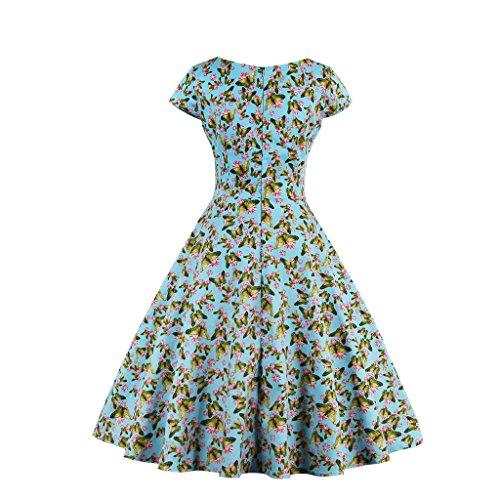 Dissa M1328 Damen 50er Retro Cocktail Vintage Rockabilly Kleid Blau
