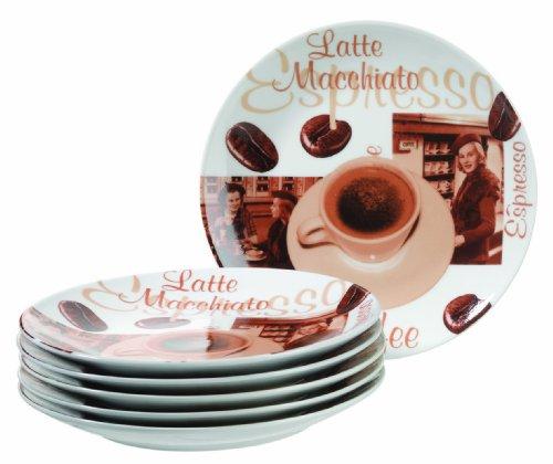 Mäser, Serie Latte Macchiato, Dessertteller, Porzellan Geschirrset im 6-er Set