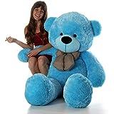 BTC Soft Teddy Bear Birthday Gift For Girlfriend/Wife Happy Birthday Teddy With Heart Soft Toy 3 Feet Long Blue(92cm)