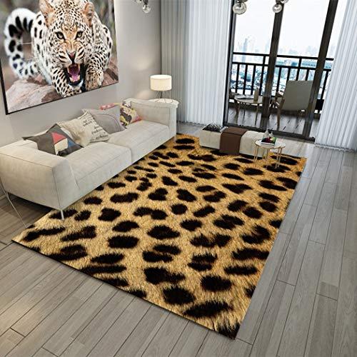 DAMENGXIANG Moda Estampado De Leopardo De Impresión Alfombra Sala De Estar Mesa De Dormitorio Antideslizante Alfombra del Piso Decoración para El Hogar Almohadilla del Pie 60×90Cm