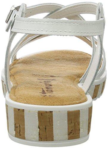 Tamaris Damen 28224 Offene Sandalen mit Keilabsatz Weiß (WHITE/SILVER 191)