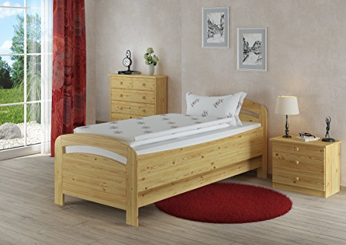 Erst-Holz® Seniorenbett extra hoch 90×220 Holzbett Kiefer massiv Einzelbett mit wählbarem Zubehör V-60.43-09-220