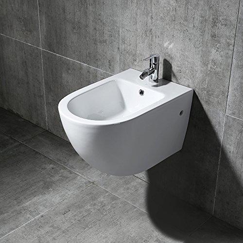 Homelody wandhängend Bidet Wand weiss Wandbidet Keramik WC Dusch Hänge-Bidet