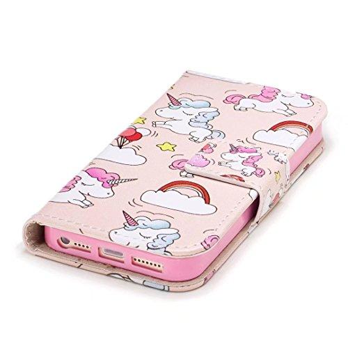 Cover iPhone 6/6s Plus DECHYI unicorno Custodia Matte Scintillante modello di Star Glitter Custodia.-Rosa rossa-02 Oro rosa-02