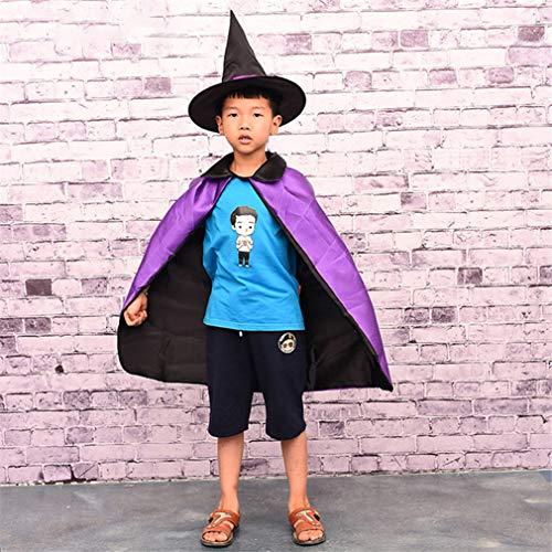 (Hmjunboys Halloweenkostüm Umhang Hexe Zauberer Cape mit Hut für Kinder Halloween Kostüm Zubehör - Lila)
