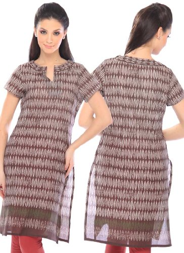 Fashionista W Brown Blended Cotton Kurti Size :34 Color : Brown  available at amazon for Rs.903
