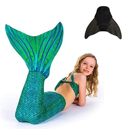 SUN TAILS Set Meerjungfrauen Kostüm Sirene Green Meerjungfrau Schwimmflossen Monofin Kinder Jugendliche Erwachsene L Schwarz