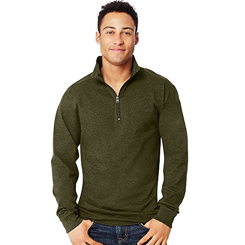 Hanes X-Temp Men's 1/4 Zip Long-Sleeve T-Shirt_Ebony_S