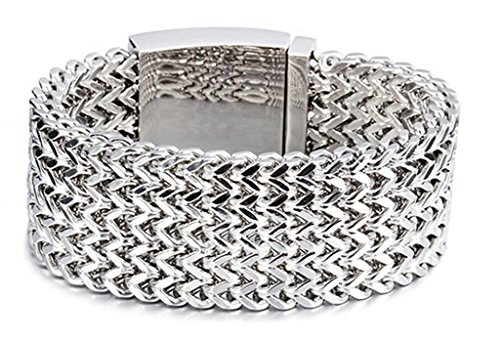 Gnzoe Schmuck, Edelstahl Herren Armband 5 Reihe Link Net Retro Armreifen Herrenarmband Panzerarmband Silber (Baby Link Muster Kostüm)