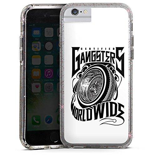 Apple iPhone 8 Bumper Hülle Bumper Case Glitzer Hülle Joker - Gangsters Reifen Felgen Bumper Case Glitzer rose gold