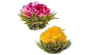 Blühende Teeblumen - Granatapfel & Ananas Blütentees – Handgebundene blühende Teekugeln - Jede Teeblüte kann mehrfach verwendet werden (2er-Pack)