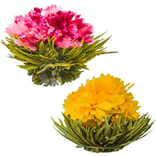Blühende Teeblumen - Granatapfel & Ananas Blütentees - Handgebundene blühende Teekugeln - Jede Teeblüte kann mehrfach verwendet werden (2er-Pack)