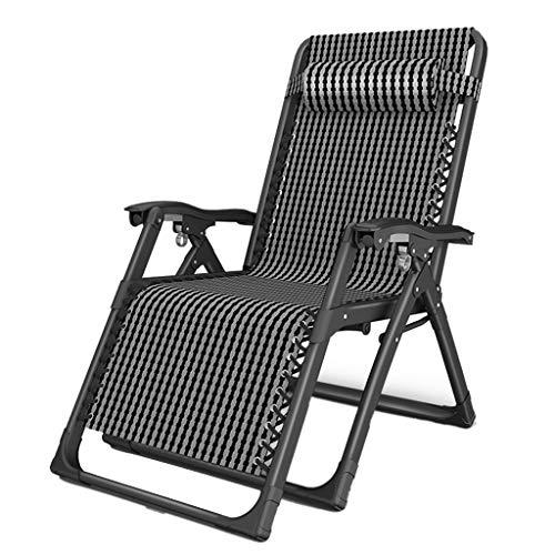 Deckchairs Liegestühle Büro-Liegestühle Klappbare Strandstühle Im Freien Tragbare Picknick-Liegestühle Lazy-Liegestühle Klappbetten (Color : Black)