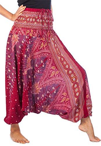 Lofbaz Pantaloni da Donna Smocked Waist Boho Pavone Harem Jumpsuit Taglia Unica Peacock 1 Borgogna & Gold