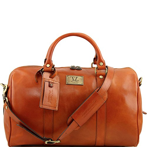 Tuscany Leather - TL Voyager - Borsa da viaggio in pelle con tasca sul retro - Misura piccola Miele - TL141250/3 Miele