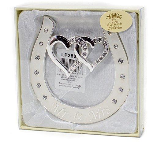 Glücksbringer-Hufeisen für frisch Verheiratete mit verschlungenen Herzen und Diamanten, Braut-/Hochzeitsandenken, Hochwertig versilbert mit elfenbeinfarbenem Emaille-Details und Diamanten