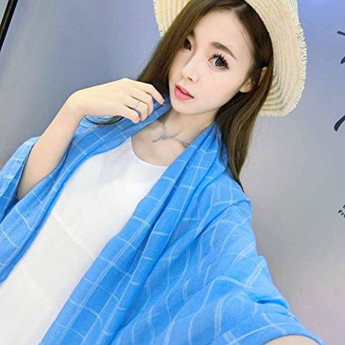 Hualing femmes hiver chaud laine artificielle souple Plaid tricot longue ¨¦charpe Wrap Chale (12 couleurs) bleu marin