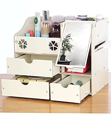 Drasawee DIY Wooden Cosmetics Storage Box Desk Table Stuff Collection Organizer - inexpensive UK light shop.