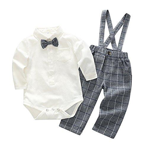 Blaward Baby Jungen Kinder Gentleman Anzüge Langarm Bowtie Body + Plaid Lange Hosen Set (Baby Mädchen Kleidung Plaid)