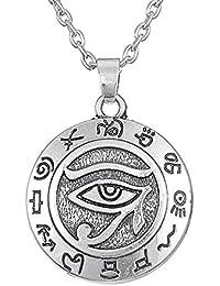 Cuir Dor - Collar con colgante de hombre de acero inoxidable, ojo del horus , egipto antiguo, cadena larga de calidad