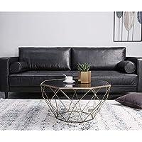 Sofá Mesas muebles nórdicos creativos mesa de centro de vidrio redonda sala de estar personalidad mesa de hierro mesa de comedor moderna minimalista de vidrio de hierro (Color: A, tamaño: 56 * 40 cm) - Muebles de Dormitorio precios