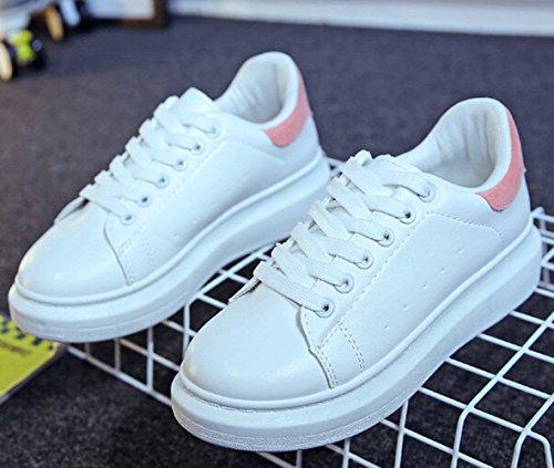 Damen Sommer Runde Zehen Weiß Einfache Bunte Ferse Plateau Moderne Schnürsenkel Flach im Freien Sneakers Turnschuhe Pink