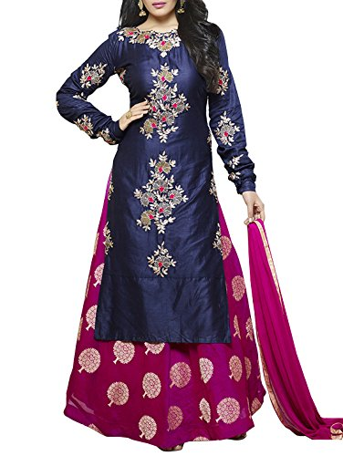 MULTIRETAIL Women\'s Embroidered Cotton Unstitched Salwar Suit with Dupatta, Free Size (Navy Blue, C453DLSF842SN)