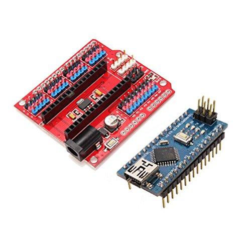 Preisvergleich Produktbild Calli Funduino Nano Expansion Board + ATmega328P Nano V3 Verbesserte Version für Arduino