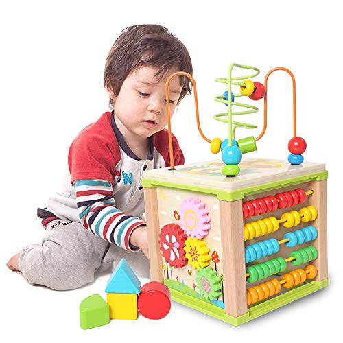 Cube-center (YIHUO0958 Holzwürfel Spielzeug Activity Center Multifunktionsperle Labyrinth Cube Lernspielzeug Geschenke für Kinder)