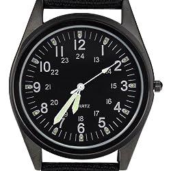 Orkina Black Dial Nylon Fabric Strap Wrist Watch P104IP-BB