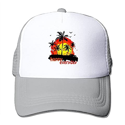 Feruch Customized Adult Unisex Sunset With Coconut Trees 100% Nylon Mesh Caps One Size Fits Most Adjustable Mesh Hats