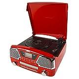 Camry CR 1134 r Radio und Schallplattenspieler mit CD/MP3/USB, Aufnahmefunktion rot