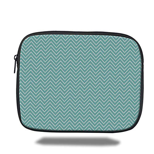 Tablet Bag for Ipad air 2/3/4/mini 9.7 inch,Blue,Ocean Sea Wave Like Zig Zag Lines for Minimalist Kitchen Teen Living Room,Mint Green and White