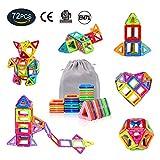 Magnetische Bausteine,AMZtronics Bauklötze Bausteine Konstruktionsbausteine Lernspielzeug 72 Stücke Perfekten Spielzeug mit Spaß und Geschenk für den Einsatz zu Hause, in Schulen, Picknick, Kindertagesstätten