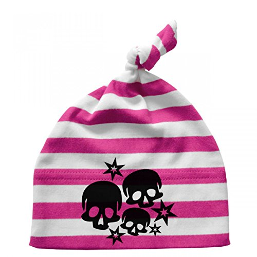 Mikalino Baby Mütze Skulls and Stars , Größe:6-12 Monate;Farbe:pink-white (White Cap Skull)