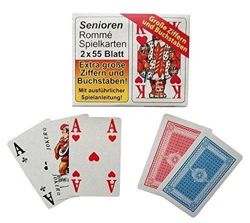 4 x 55 Karten Senioren Rommé mit großen Zahlen, Kartenspiel, Spielkarten