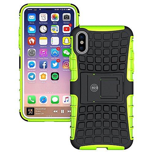 Quiksilver-karte (iPhone X Fall, iPhone X Fall durch Kabel und Case-[Heavy Duty] Tough Dual Layer 2in 1robusten Gummi Hybrid Hart/Weich Impact Schutzhülle [mit Ständer] Versand aus Den USA, Grün)