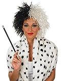Damen schwarz weiß Cruella De Ville Vil Villain Halloween Kostüm Outfit Zusatzartikel