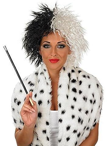 Mesdames noir blanc Cruella De Ville Vil méchant accessoire Perruque déguisement Halloween