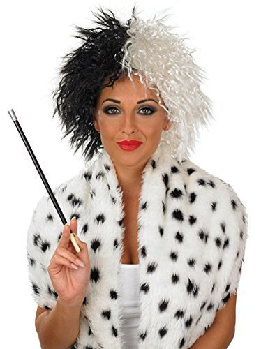 ruella De Vil Ville Villain Halloween Wig Fancy Dress Costume Outfit Accessory ()