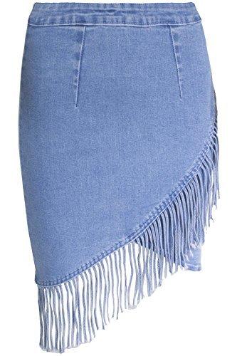 Oops Outlet Damen Denim Rücken Reißverschluss hohe Taille gewickelt Cross Over Troddel Fransen Damen Minirock Denim medium blau