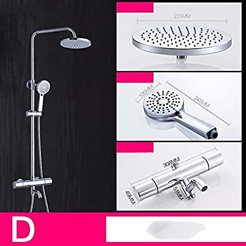 JSLCR Shower Kit brass mixer shower bathroom rain shower shower head set,Constant third gear