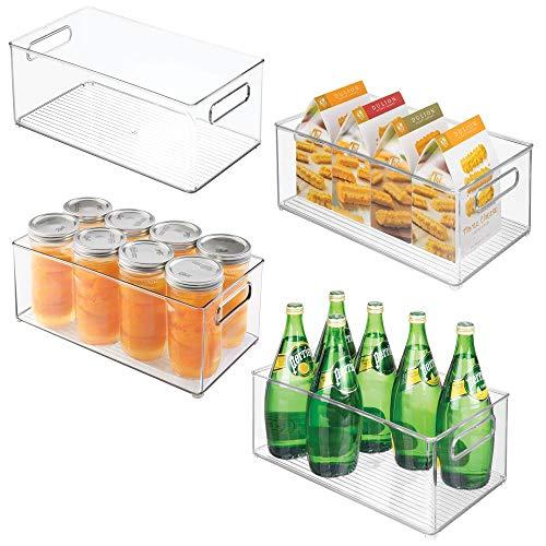 mDesign 4er-Set Küchen Aufbewahrungsbox - ideal einsetzbar als Kühlschrankbox oder Gefrierbox - stapelbares Ordnungssystem mit integrierten Tragegriffen - durchsichtig
