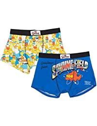UWear The Simpsons Spring Boxer Shorts Twin Pack Novelty Men's Simpsons Boxers Regular and Plus Size Pack Of 2