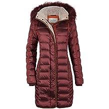 MILESTONE Damen Daunenmantel Winter Mantel Gesteppt Bordeaux Rot Kapuze mit  Echtfellbesatz Tailliert Gr. 36- 6291278f0a