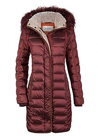 b2c003db5371 MILESTONE Damen Daunenmantel Winter Mantel Gesteppt Bordeaux Rot ...